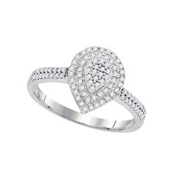 0.33 CTW Diamond Teardrop Cluster Ring 10KT White Gold - REF-31W4K