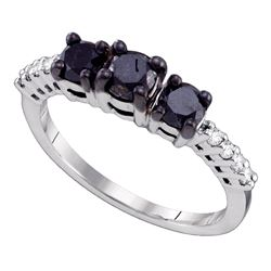 1.06 CTW Black 3-stone Color Diamond Bridal Anniversary Ring 10KT White Gold - REF-30N2F