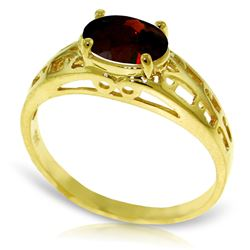 Genuine 1.15 ctw Garnet Ring Jewelry 14KT Yellow Gold - REF-32N3R