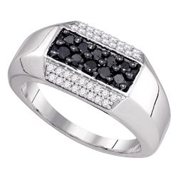 0.70 CTW Mens Black Color Diamond Ring 10KT White Gold - REF-41H9M