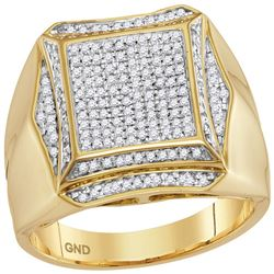 0.50 CTW Mens Prong-set Diamond Square Cluster Ring 10KT Yellow Gold - REF-75N2F