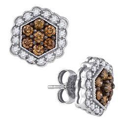 0.90 CTW Cognac-brown Color Diamond Hexagon Flower Earrings 10KT White Gold - REF-41F9N
