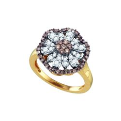 0.70 CTW Cognac-brown Color Diamond Flower Cluster Ring 10KT Yellow Gold - REF-52X4Y