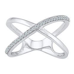 0.15 CTW Diamond Open Crossover Ring 10KT White Gold - REF-20N9F