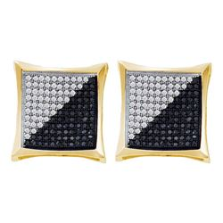 0.75 CTW Mens Black Color Diamond Square Kite Cluster Earrings 10KT Yellow Gold - REF-44N9F