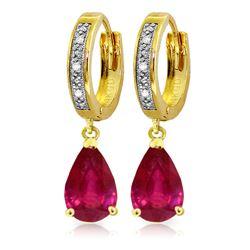 Genuine 3.53 ctw Ruby & Diamond Earrings Jewelry 14KT Yellow Gold - REF-77F2Z