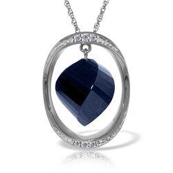 Genuine 15.35 ctw Sapphire & Diamond Necklace Jewelry 14KT White Gold - REF-124K2V