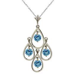 Genuine 1.20 ctw Blue Topaz Necklace Jewelry 14KT White Gold - REF-30P7H