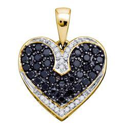 0.51 CTW Black Color Diamond Dainty Heart Pendant 10KT Yellow Gold - REF-22Y4X