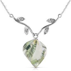 Genuine 13.02 ctw Green Amethyst & Diamond Necklace Jewelry 14KT White Gold - REF-43F3Z