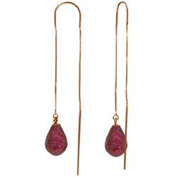 Genuine 6.6 ctw Ruby Earrings Jewelry 14KT Rose Gold - REF-20X8M