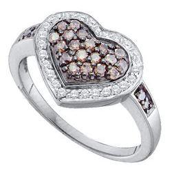 0.50 CTW Cognac-brown Color Diamond Framed Heart Cluster Ring 10KT White Gold - REF-37H5M