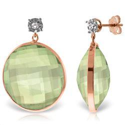 Genuine 36.06 ctw Green Amethyst & Diamond Earrings Jewelry 14KT Rose Gold - REF-87V5W