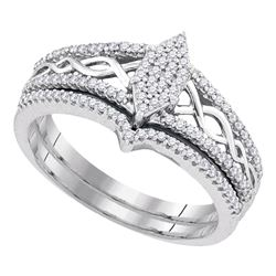 0.33 CTW Diamond Oval Cluster Bridal Engagement Ring 10KT White Gold - REF-37X5Y