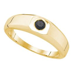 0.33 CTW Mens Black Color Diamond Solitaire Anniversary Ring 10KT Yellow Gold - REF-19N4F