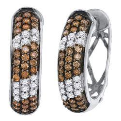 1.02 CTW Cognac-brown Color Diamond Hoop Earrings 10KT White Gold - REF-64F4N
