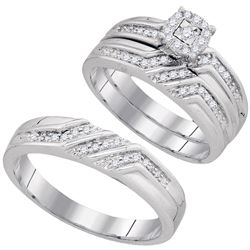 0.40 CTW His & Hers Diamond Solitaire Matching Bridal Ring 10KT White Gold - REF-44N9F