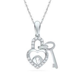 0.10 CTW Diamond Heart Lock Key Dangle Pendant 10KT White Gold - REF-8M9H