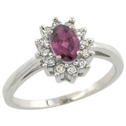 Natural 0.67 ctw Rhodolite & Diamond Engagement Ring 10K White Gold - REF-39N2G