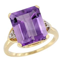 Natural 5.44 ctw amethyst & Diamond Engagement Ring 10K Yellow Gold - REF-32G2M