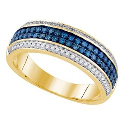 0.50 CTW Blue Color Diamond Triple Ring 14KT Yellow Gold - REF-75Y2X