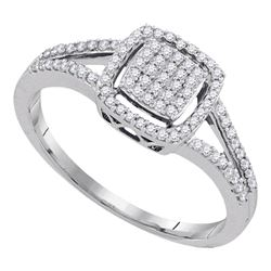 0.25 CTW Diamond Square Cluster Split-shank Ring 10KT White Gold - REF-25K4W