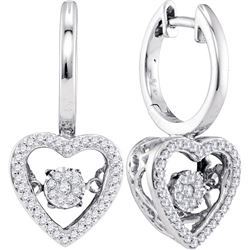 0.27 CTW Diamond Heart Moving Twinkle Dangle Earrings 10KT White Gold - REF-41Y9X