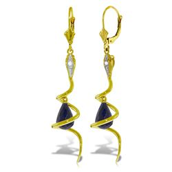 Genuine 6.66 ctw Sapphire & Diamond Earrings Jewelry 14KT Yellow Gold - REF-104P3H