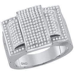0.75 CTW Mens Diamond Rectangle Cluster Ring 10KT White Gold - REF-71X9Y