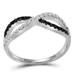 0.35 CTW Black Color Diamond Infinity Ring 10KT White Gold - REF-26N3F