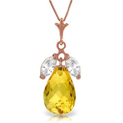 Genuine 7.2 ctw Citrine & White Topaz Necklace Jewelry 14KT Rose Gold - REF-30R5P