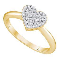 0.15 CTW Diamond Heart Love Ring 10KT Yellow Gold - REF-18F2N