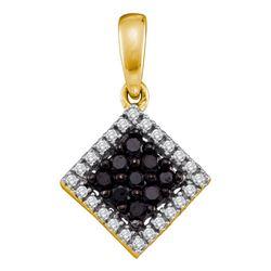 0.30 CTW Black Color Diamond Diagonal Square Pendant 10KT Yellow Gold - REF-14Y9X