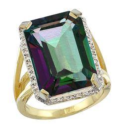 Natural 13.72 ctw Mystic-topaz & Diamond Engagement Ring 10K Yellow Gold - REF-65F2N