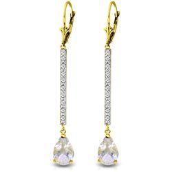 Genuine 3.6 ctw White Topaz & Diamond Earrings Jewelry 14KT Yellow Gold - REF-60T4A