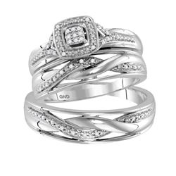 0.10 CTW His & Hers Diamond Cluster Matching Bridal Ring 10KT White Gold - REF-44W9K