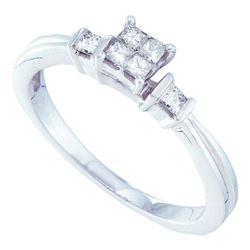 0.25 CTW Princess Diamond Cluster Bridal Engagement Ring 14KT White Gold - REF-40F4N