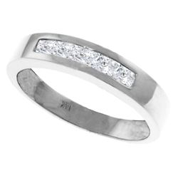 Genuine 0.60 ctw White Topaz Ring Jewelry 14KT White Gold - REF-46Y2F