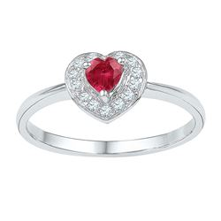 0.60 CTW Created Ruby Heart Diamond Ring 10KT White Gold - REF-12N8F