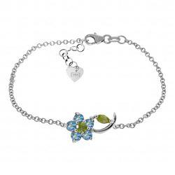 Genuine 0.87 ctw Blue Topaz & Peridot Bracelet Jewelry 14KT White Gold - REF-50M5T