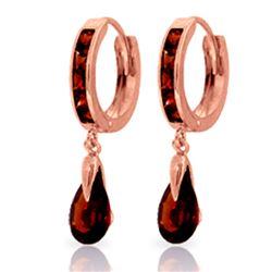 Genuine 4.3 ctw Garnet Earrings Jewelry 14KT Rose Gold - REF-53T8A