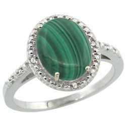 Natural 2.77 ctw Malachite & Diamond Engagement Ring 10K White Gold - REF-23W2K