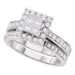 1 CTW Princess Diamond Square Halo Bridal Engagement Ring 14KT White Gold - REF-127X4Y