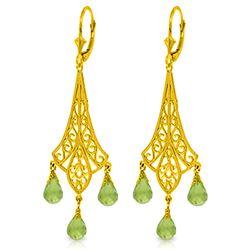 Genuine 4.5 ctw Peridot Earrings Jewelry 14KT Yellow Gold - REF-56W7Y