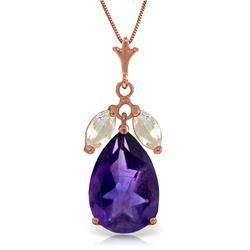 Genuine 6.5 ctw Amethyst & White Topaz Necklace Jewelry 14KT Rose Gold - REF-38Z2N