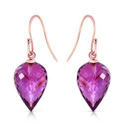 Genuine 19 ctw Amethyst Earrings Jewelry 14KT Rose Gold - REF-28R4P