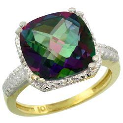 Natural 5.96 ctw Mystic-topaz & Diamond Engagement Ring 10K Yellow Gold - REF-32H4W