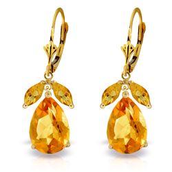 Genuine 13 ctw Citrine Earrings Jewelry 14KT Yellow Gold - REF-61R2P