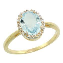 Natural 1.05 ctw Aquamarine & Diamond Engagement Ring 14K Yellow Gold - REF-30F2N