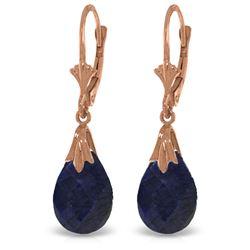 Genuine 8 ctw Sapphire Earrings Jewelry 14KT Rose Gold - REF-34Z3N